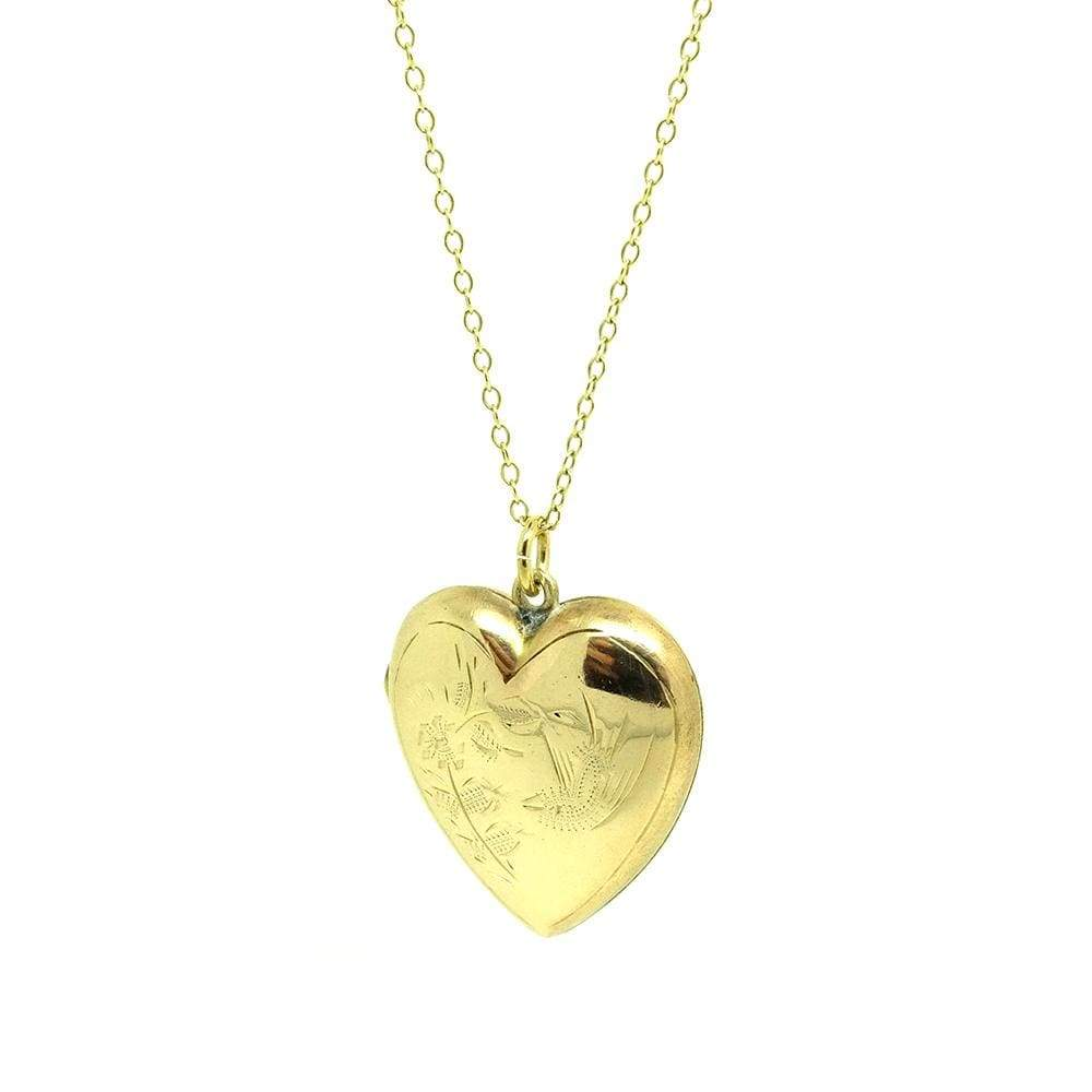 1930s Necklace Vintage 1930s 9ct Yellow Gold Heart Locket Necklace