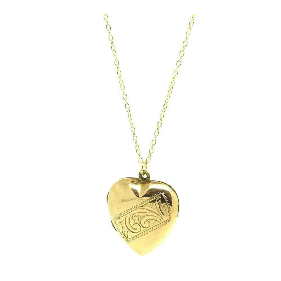 Vintage 1930s Engraved 9ct Gold Heart Locket Necklace