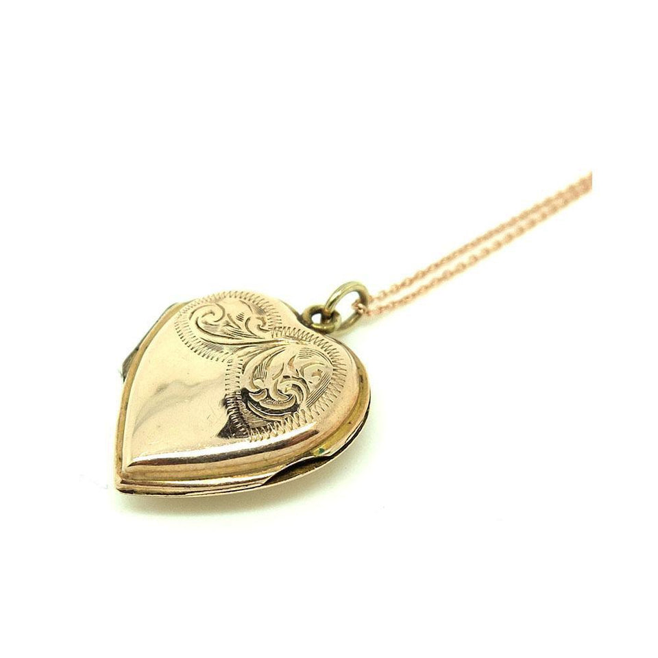Vintage 1930s Engraved 9ct Rose Gold Heart Locket Necklace