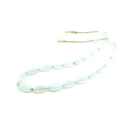 Vintage 1930s French Opaline Glass Beaded Necklace