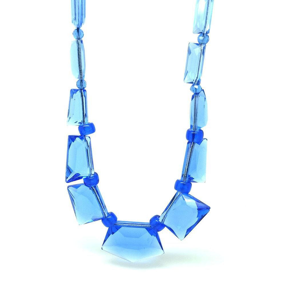 Vintage 1930s Geometric Large Glass Beaded Necklace