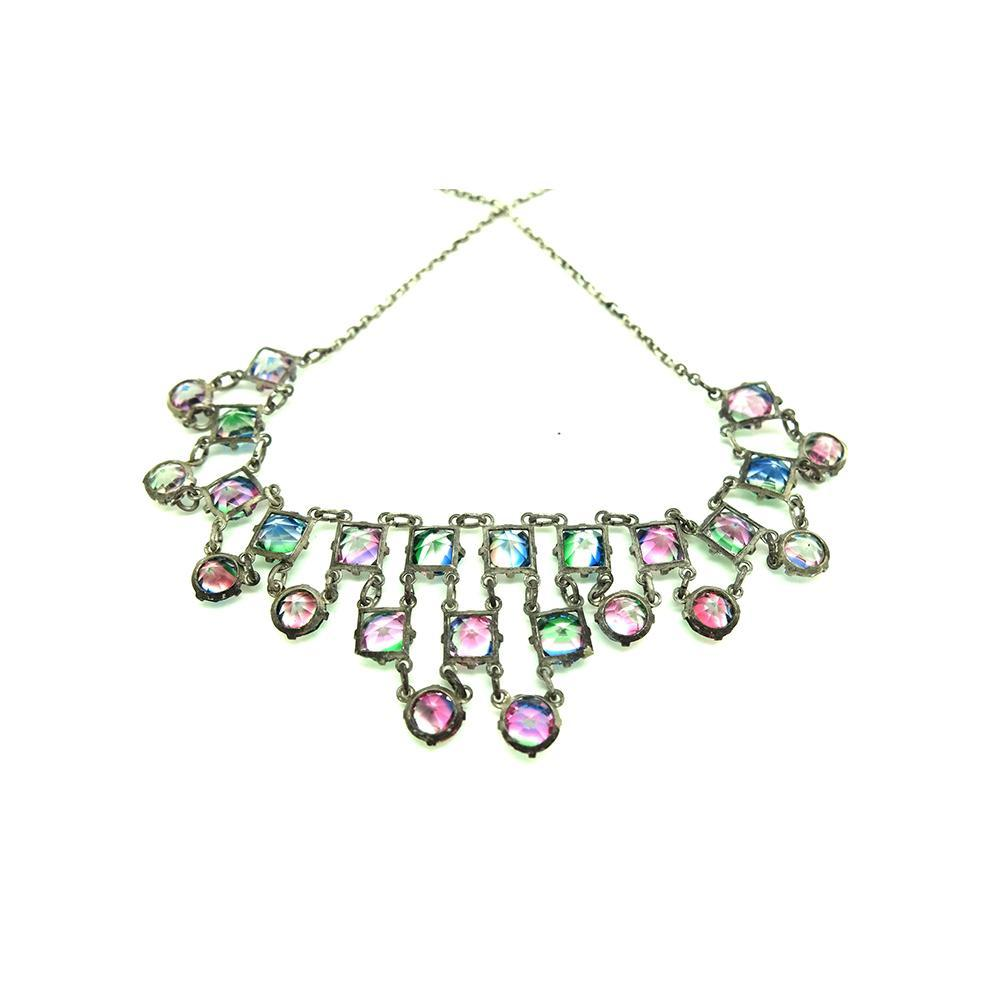 Vintage 1930s Iris Glass Layered Drop Necklace