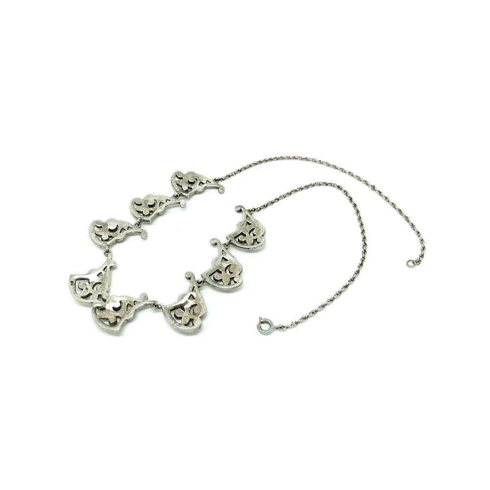 Vintage 1930s Marcasite Sterling Silver Necklace