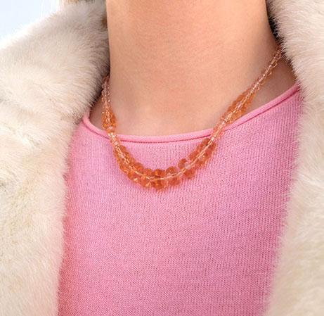 Vintage 1930s Pink Glass Beaded Necklace