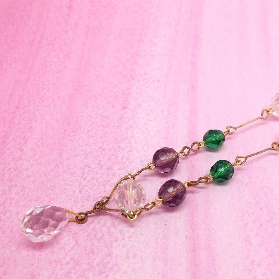 Vintage 1930s Purple Glass Rolled Gold Necklace