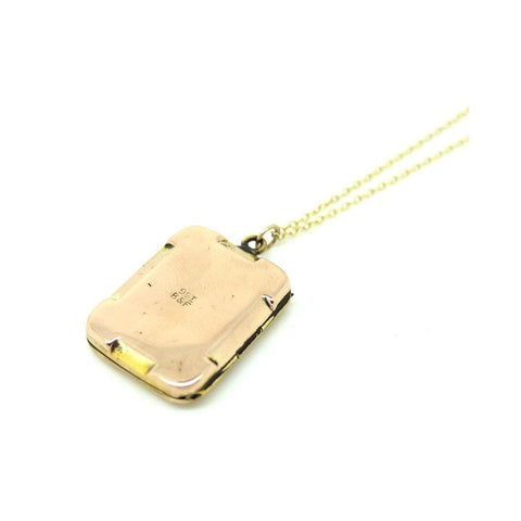 Vintage 1930s Rectangular 9ct Rose Gold Locket Necklace