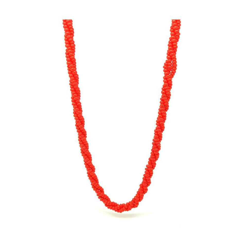 Vintage 1930s Red Czech Beaded Long Necklace