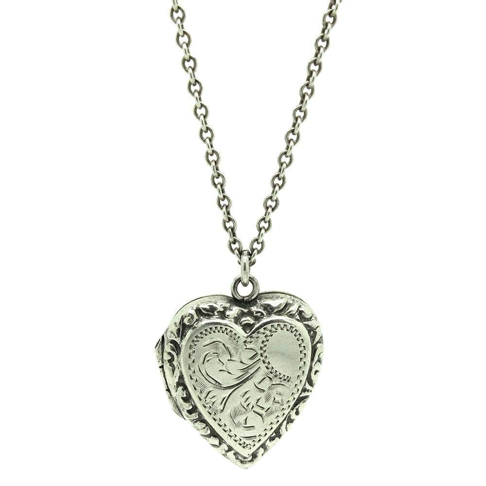 1930s Necklace Vintage 1930s Silver Heart Locket Necklace