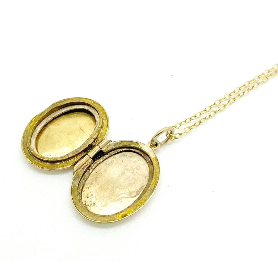 1930s Necklace Vintage 9ct 1930s Gold Small Oval Locket Necklace