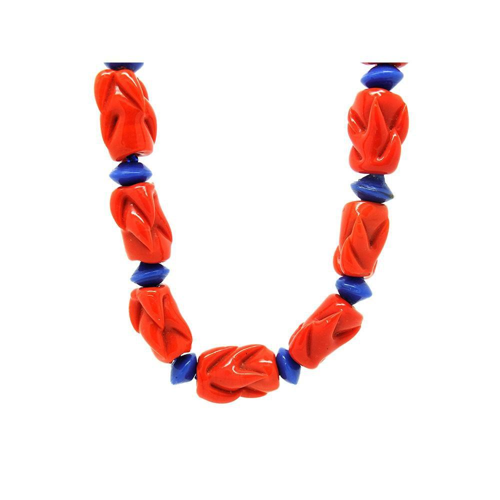 Vintage Art Deco 1930s Red & Blue Beaded Necklace