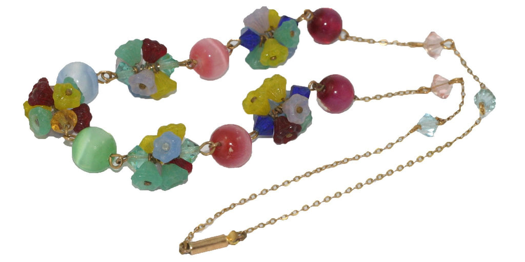 Vintage Glass Flower Necklace
