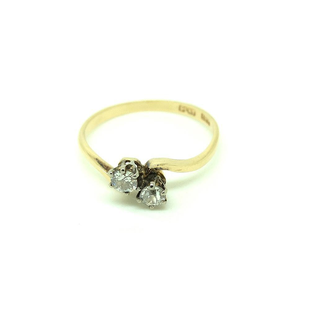 Antique Edwardian 'toi et moi' 18ct Gold Diamond Gemstone Engagement Ring | O 1/2 (7.5)
