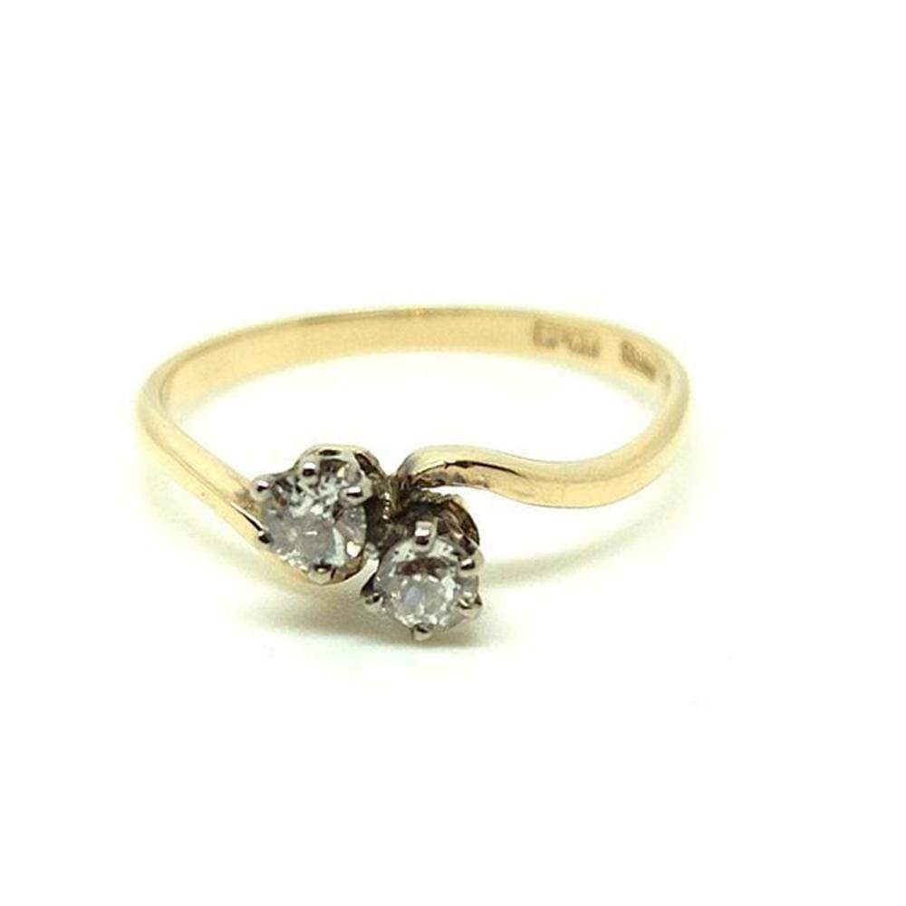 1930s Ring Antique Edwardian Toi et Moi 18ct Gold Diamond Ring