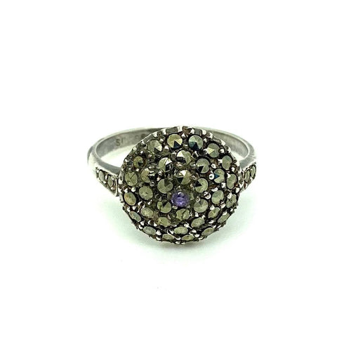 Vintage 1980s Ornate Floral Sterling Silver Ring