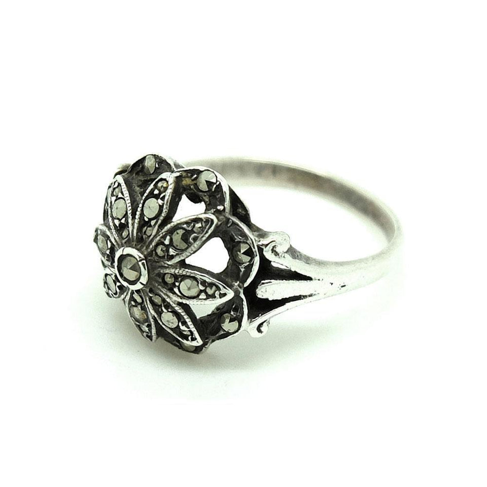 Vintage 1930s Art Deco Marcasite Silver Ring