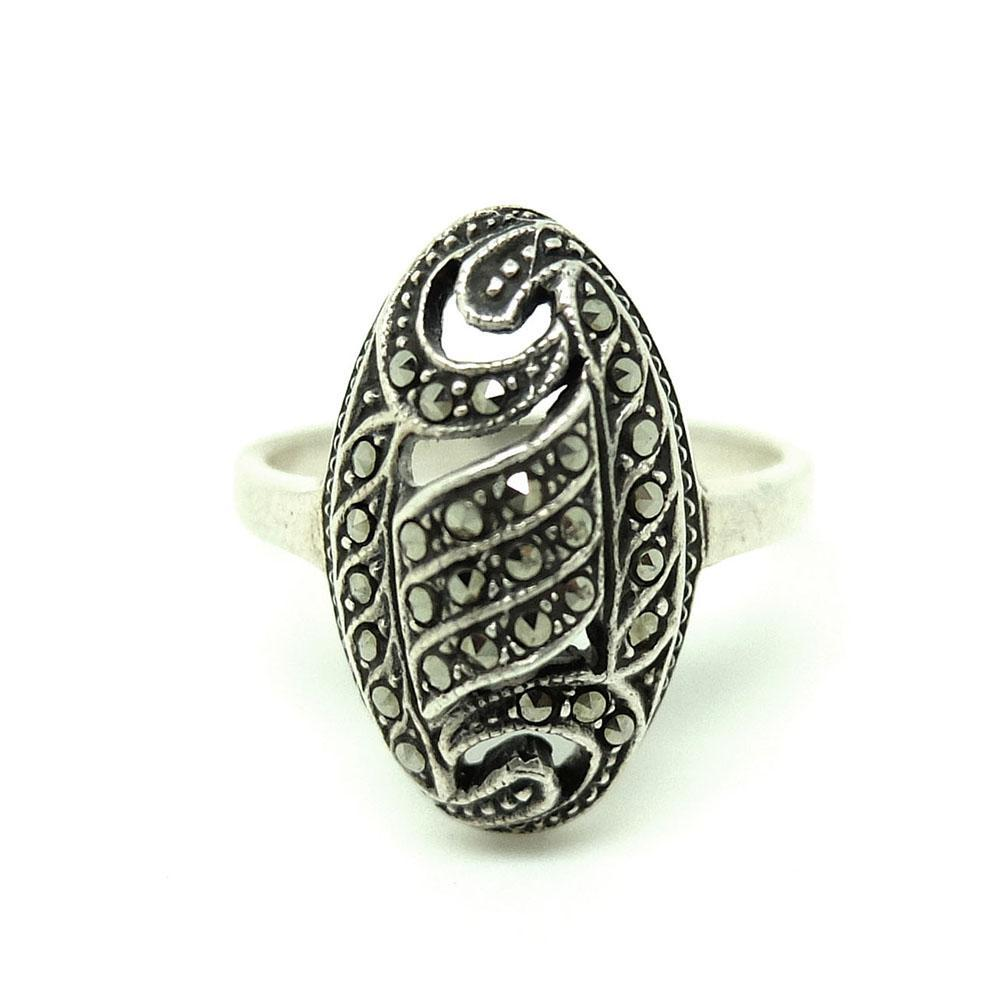 Vintage 1930s Art Deco Swirl Marcasite Silver Ring