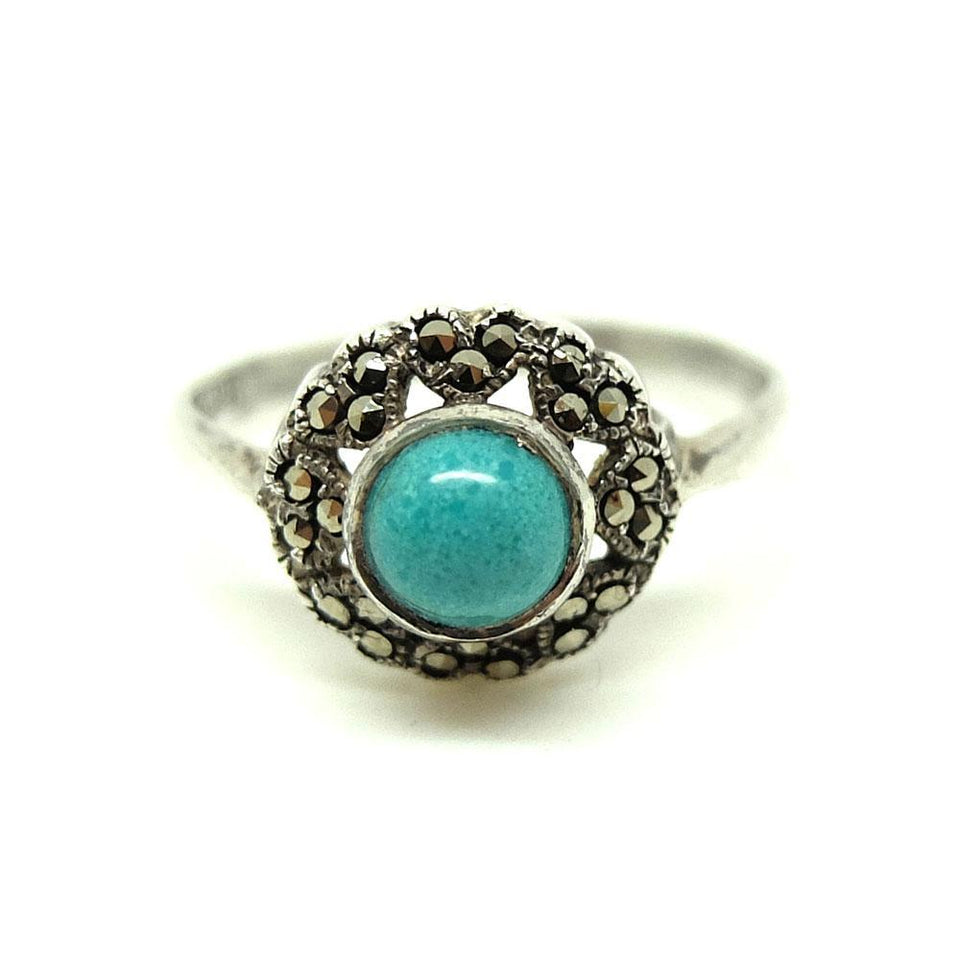 Vintage 1930s Blue Turquoise Glass Marcasite Silver Ring
