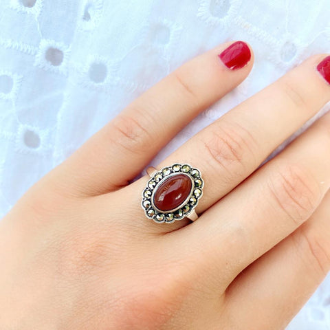 1930s Ring Vintage 1930s Carnelian Marcasite Silver Ring