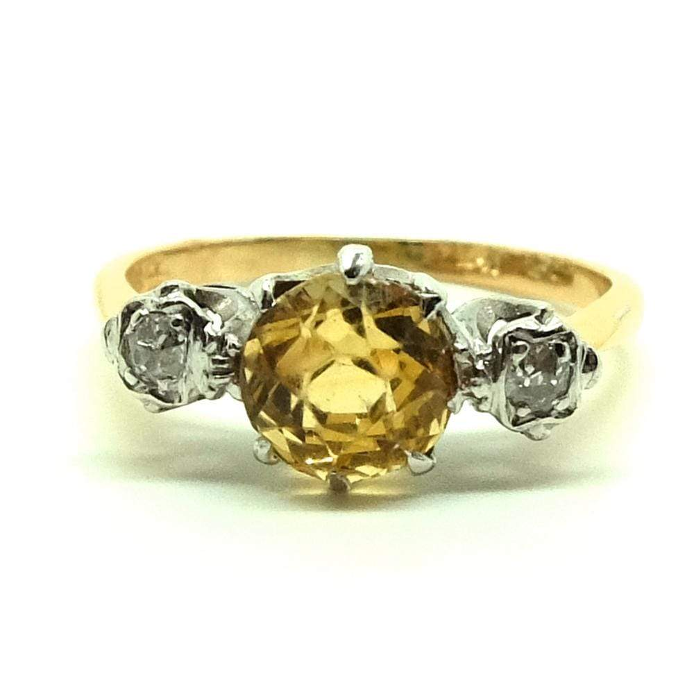 1930s Ring Vintage 1930s Diamond Citrine Platinum 18ct Gold Ring
