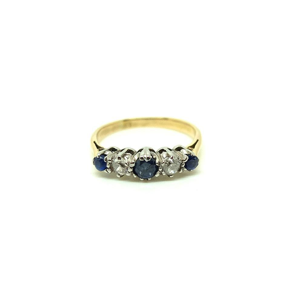 Vintage 1930s Diamond & Sapphire 18ct Gold Gemstone Ring | H (4 1/4)