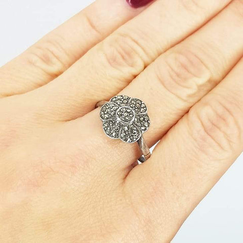 1930s Ring Vintage 1930s Marcasite Flower Silver Ring