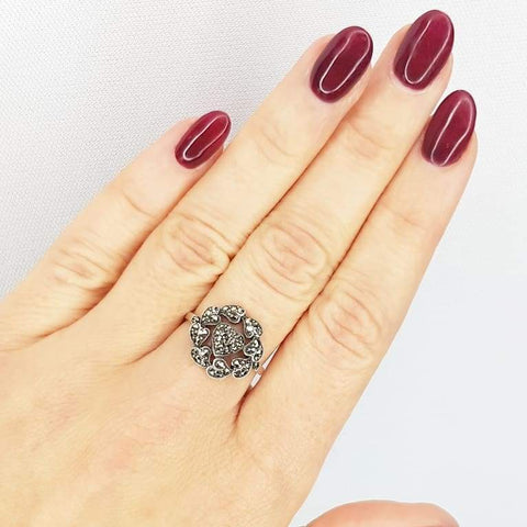 1930s Ring Vintage 1930s Marcasite Heart Silver Ring