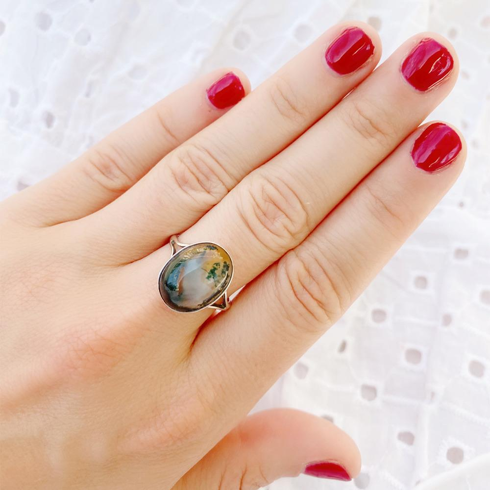 1930s Ring Vintage 1930s Moss Agate Silver Ring