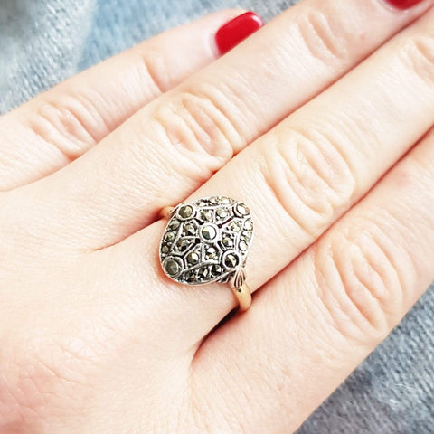 1930s Ring Vintage 1930s Oval Marcasite 9ct Gold Ring