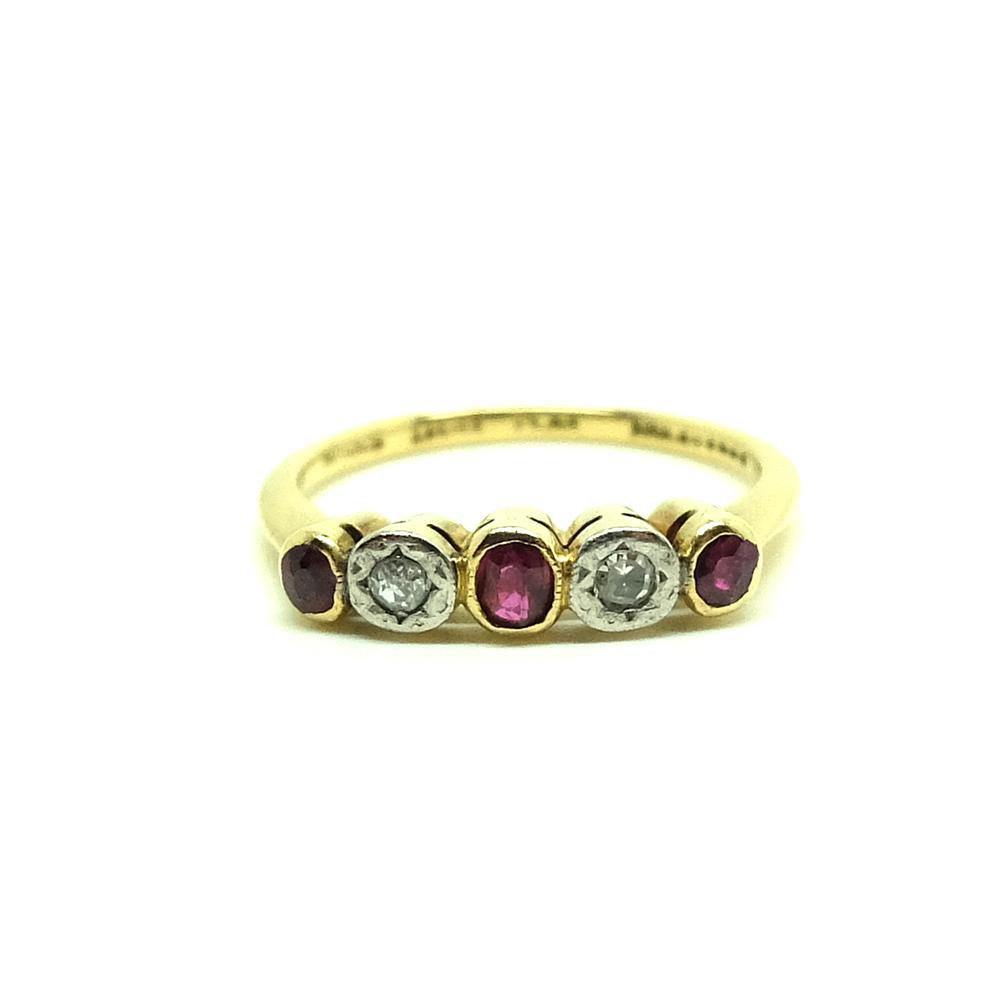Vintage 1930s Ruby & Diamond 18ct Gold & Platinum Ring