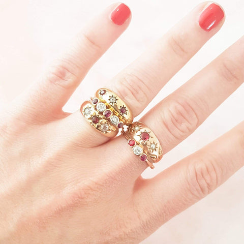 1930s Ring Vintage 1930s Ruby & Diamond Three Stone 18ct Rose Gold Ring