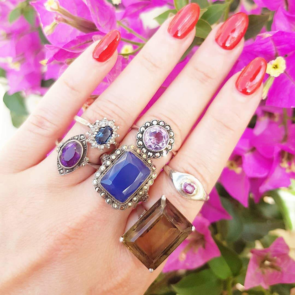 1930s Ring Vintage Amethyst Silver Marcasite Ring