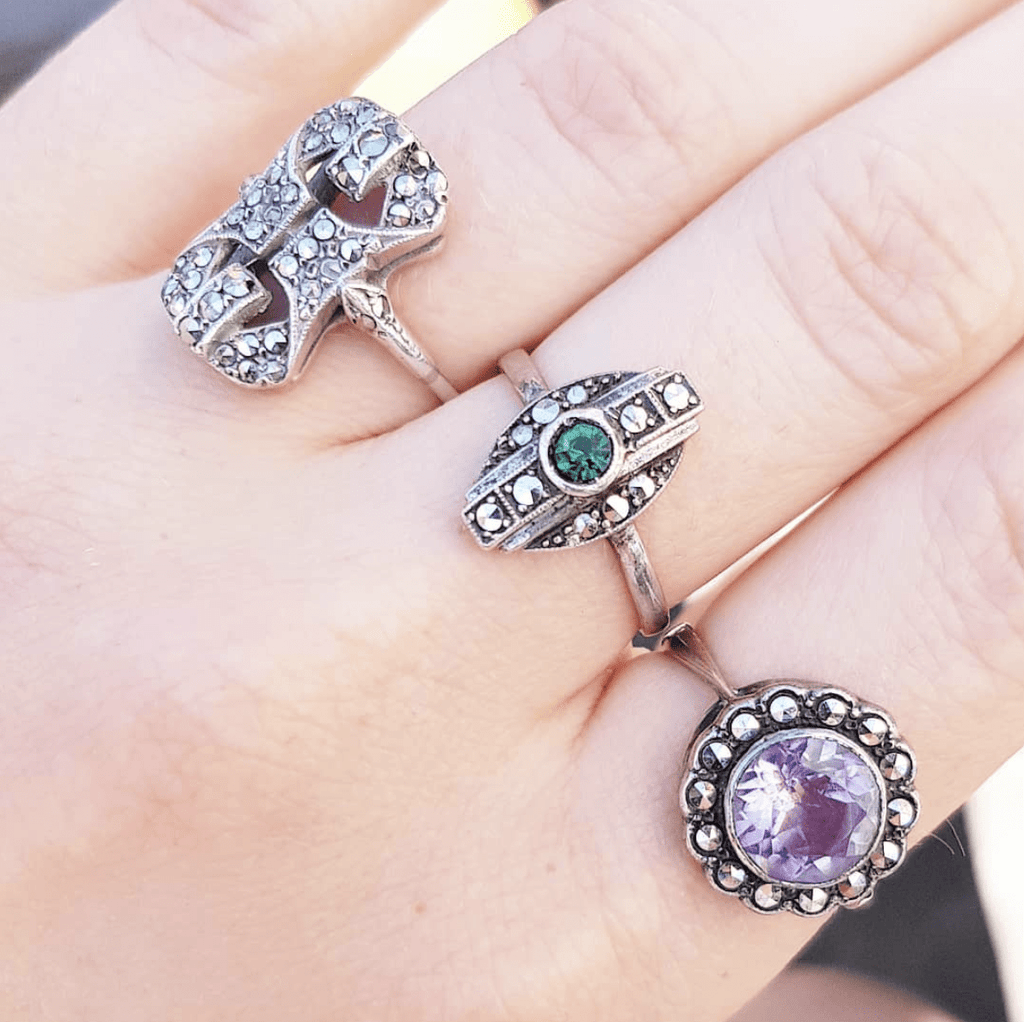 Vintage Amethyst Silver Marcasite Ring
