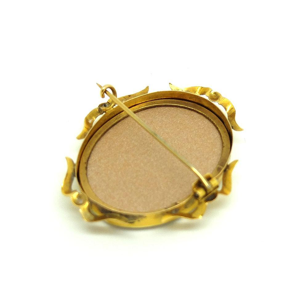 Antique Victorian 9ct Gold Glass Locket Brooch