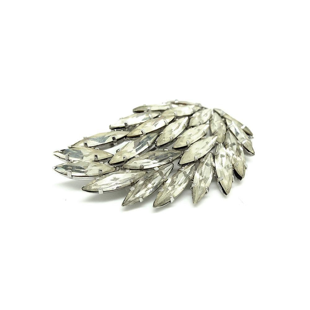 Vintage 1940s Diamante Leaf Brooch
