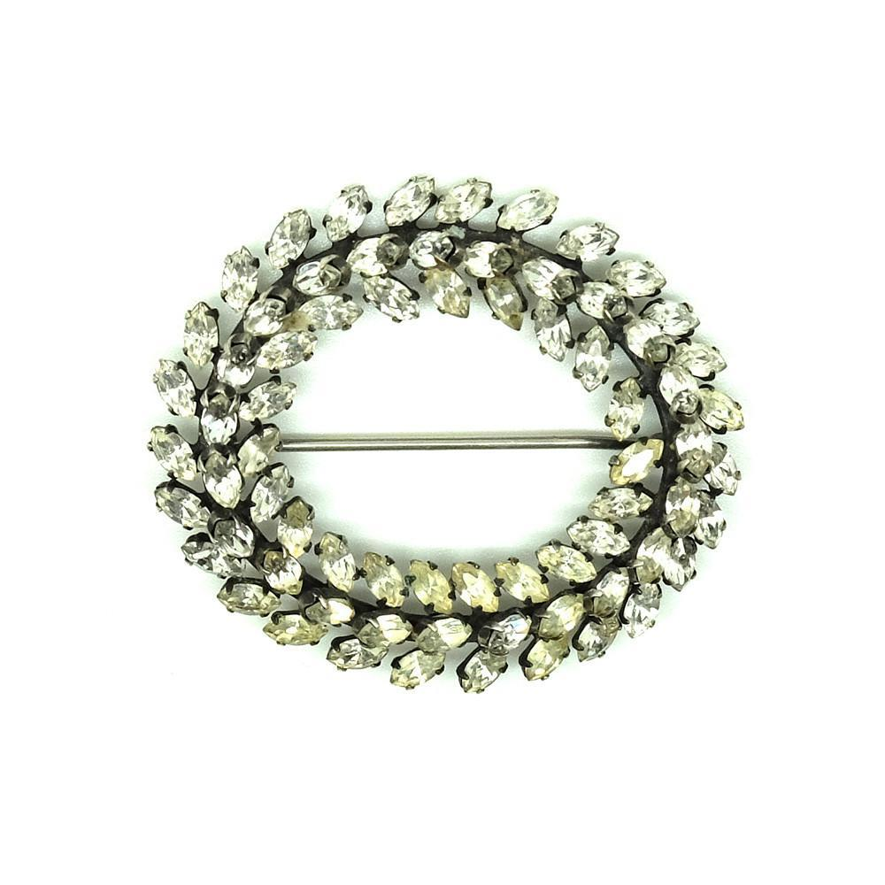 Vintage 1940s Diamante Oval Brooch
