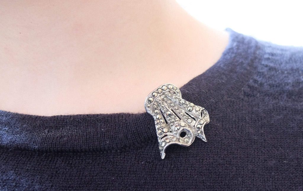 Vintage 1940s Marcasite Duette Dress Clip Brooch