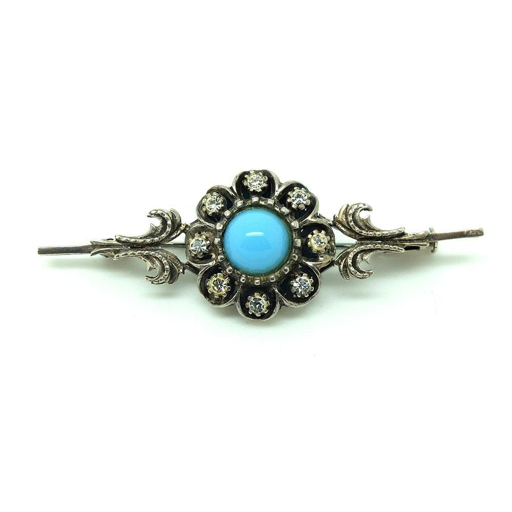 Vintage 1940s Paste Turquoise Silver Bar Brooch
