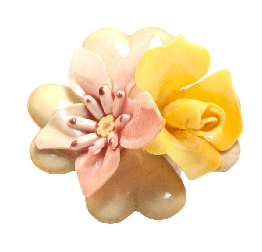 Vintage 1940s Pink and Yellow Flower Brooch