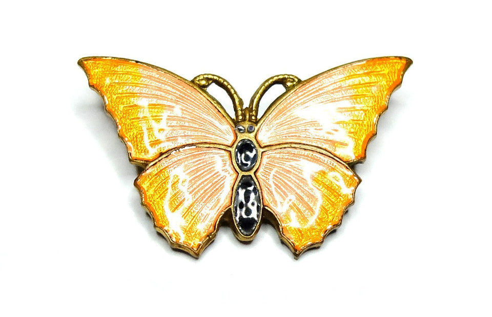Vintage 1940s Pink & Orange Butterfly Brooch