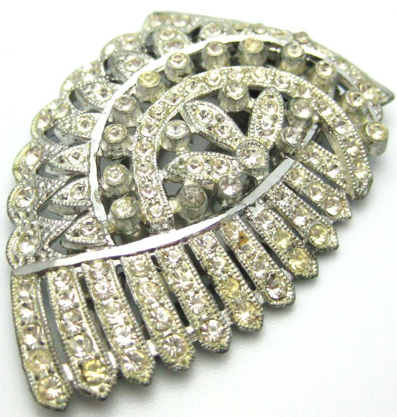 Vintage 1940s Diamante Dress Clip Brooch