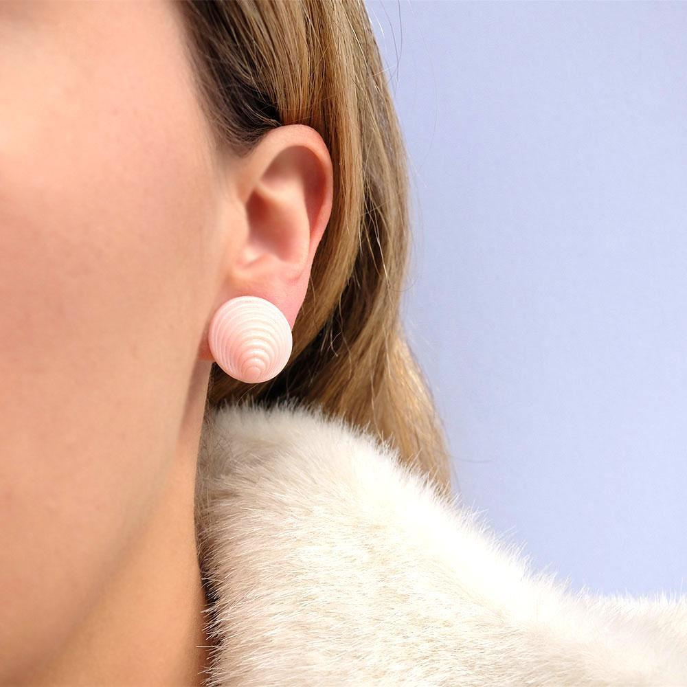 Vintage 1940's Pink Shell Clip Earrings