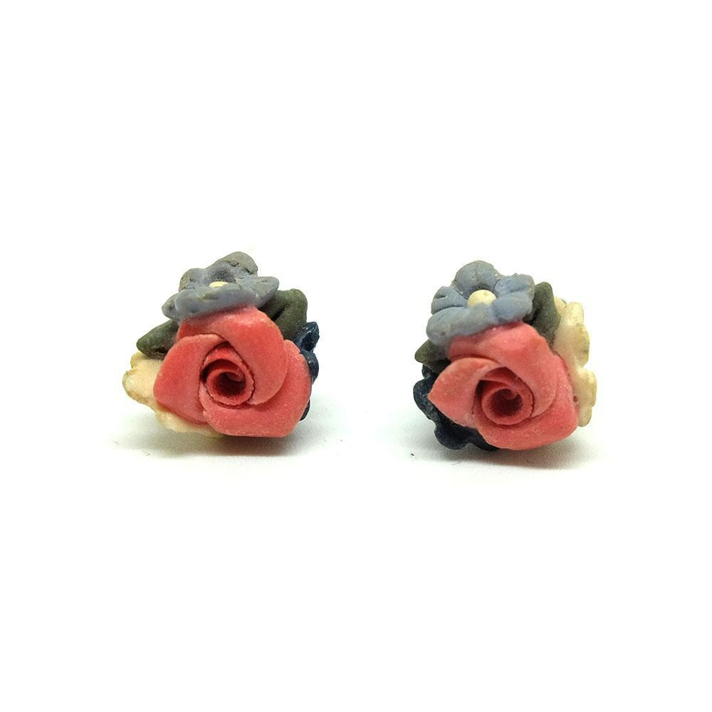 Vintage 1940s Pink Flower Clip on Earrings