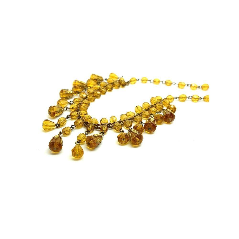Vintage 1940's Amber Orange Glass Beaded Necklace