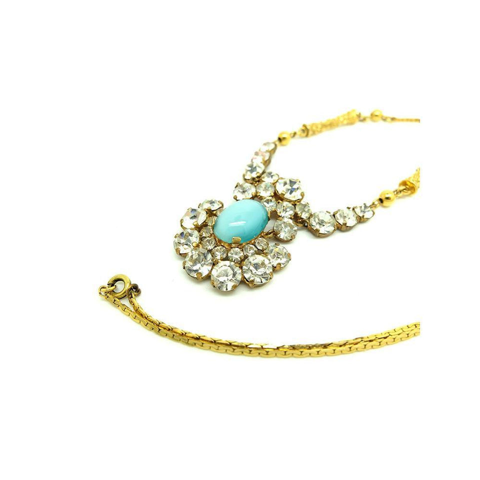 Vintage 1940's Blue Diamante Necklace