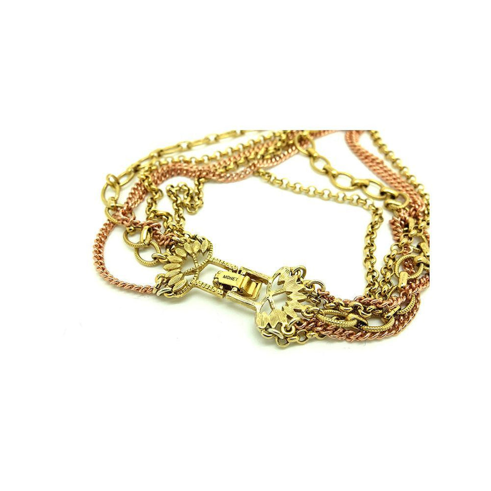 Vintage 1940's Designer Monet Gold Plated Chain Necklace