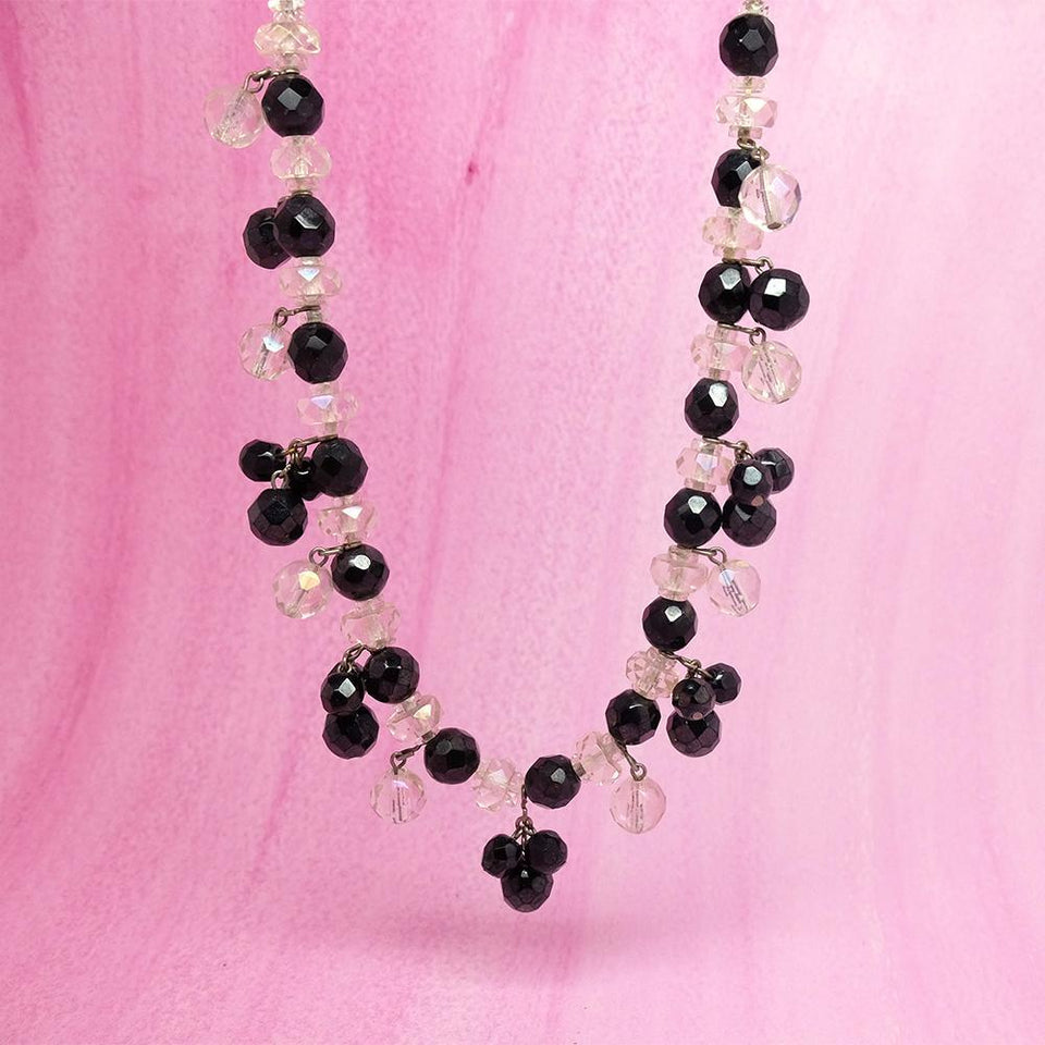 Vintage 1940s Black & White Glass Beaded Necklace