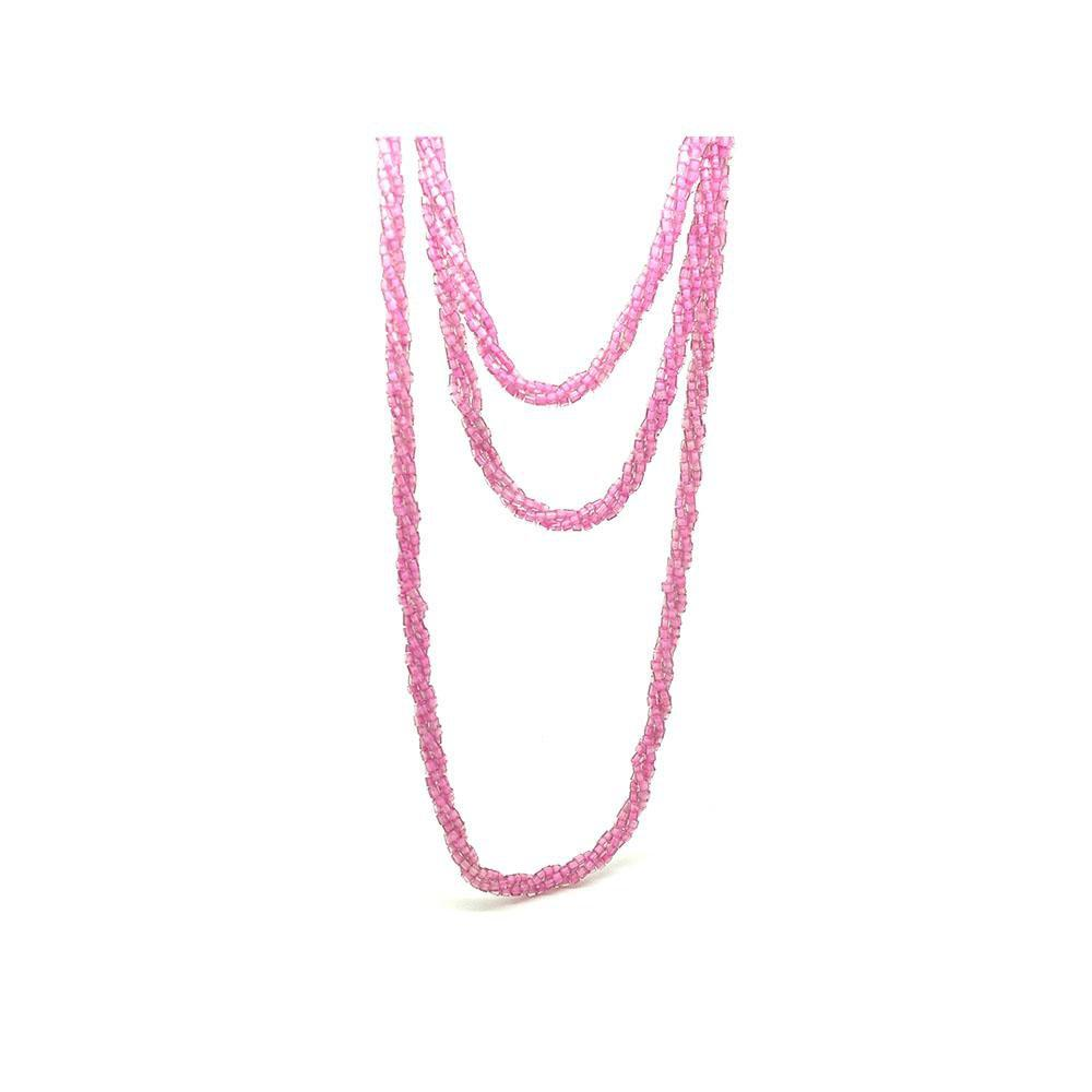 Vintage 1940s Czech Pink Beaded Long Necklace