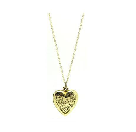 Vintage 1940s Gold Filled Vargas Heart Locket Necklace