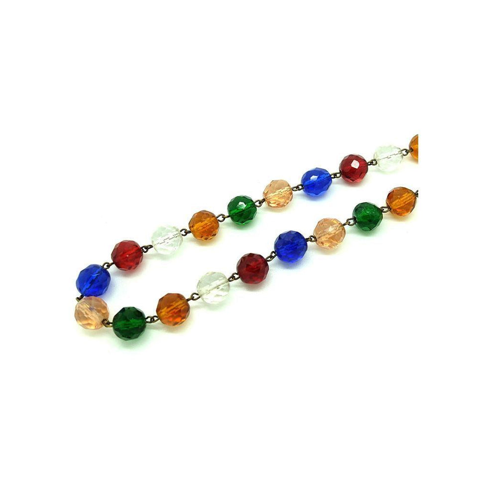 Vintage 1940s Multicoloured Beaded Glass Necklace