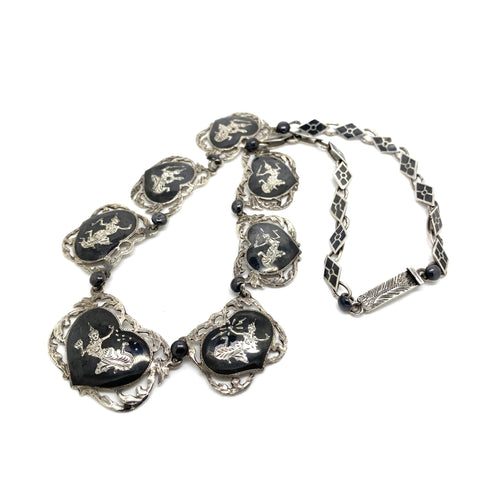 1940s Necklace Vintage 1940s Siam Silver Nielloware Necklace